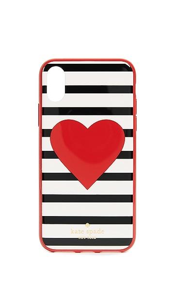 Kate Spade New York Heart Stripe iPhone X Case