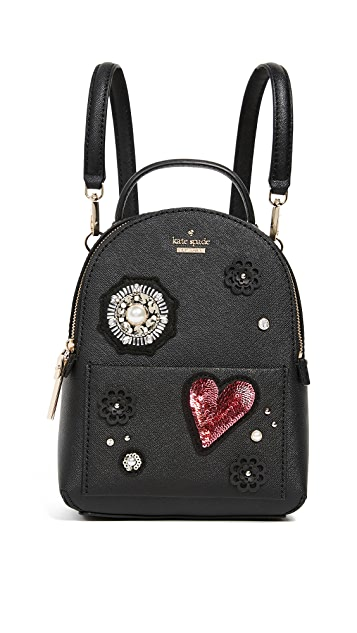 Kate Spade New York Finer Things Merry Mini Backpack with Patches