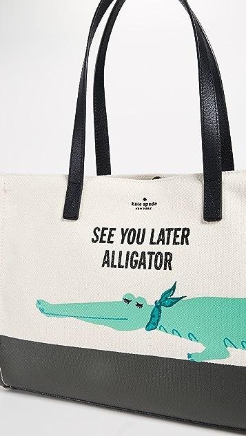 Kate Spade New York Swamped Alligator Canvas Mega Sam Tote
