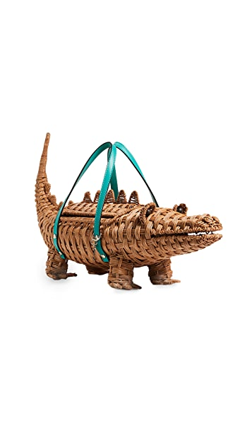 Kate Spade New York Swamped 3D Wicker Alligator Handheld Clutch