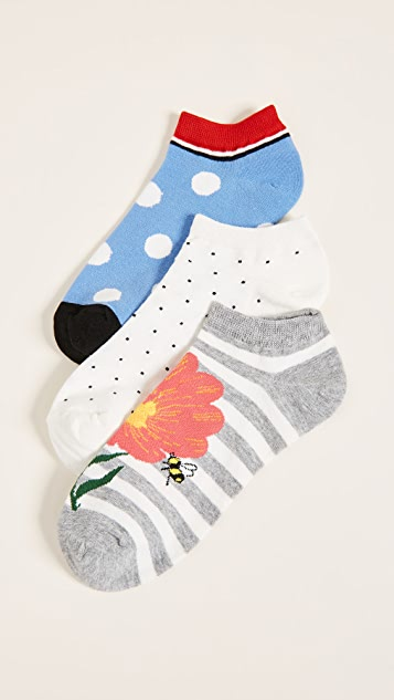 Kate Spade New York 3 Pack of Floral Bee Socks - Light Grey Melange