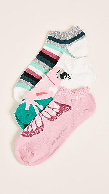 Kate Spade New York 3 Pack of Frog Socks - White Multi