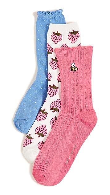 Kate Spade New York 3 Pack of Strawberry Crew Socks
