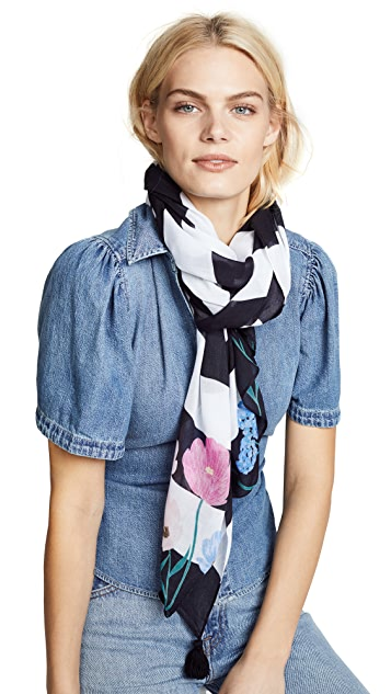 Kate Spade New York Blossom Stripe Oblong Scarf