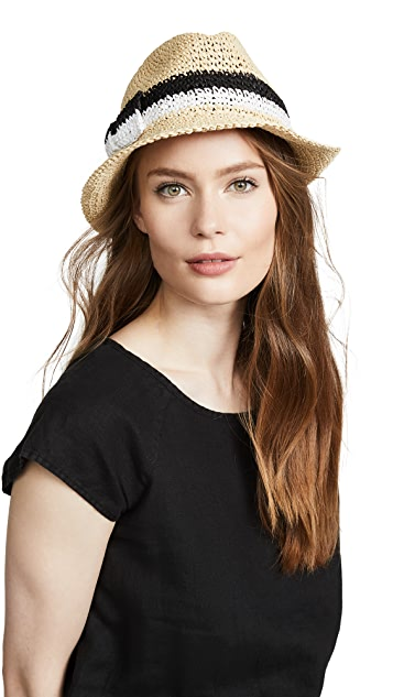 Kate Spade New York Crochet Bicolor Bow Trilby Hat