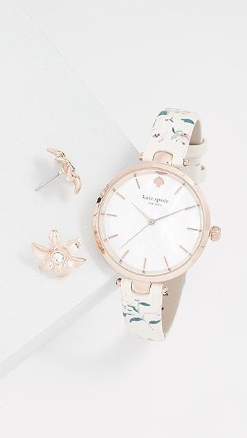 Kate Spade New York Holland Floral Watch, 35mm & Earrings Set