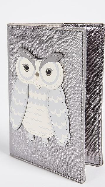 Kate Spade New York Star Bright Owl Applique Passport Case