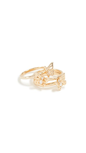 Kate Spade New York Social Butterfly Stackable Ring Set