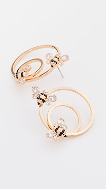 Kate Spade New York Picnic Perfect Bee Hoops