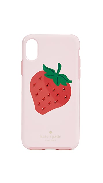 Kate Spade New York Crystal Strawberry iPhone X Case