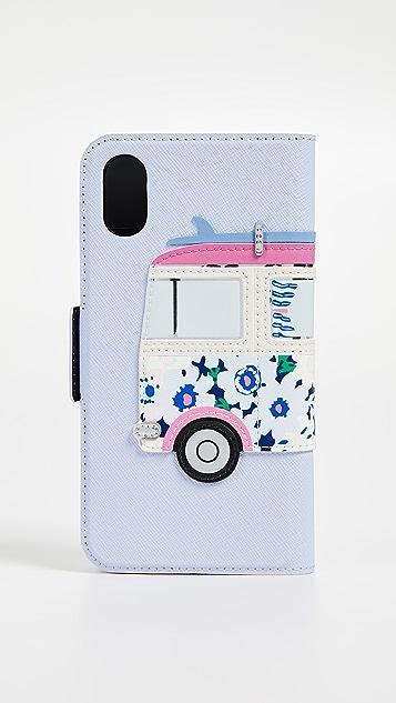 Kate Spade New York Surf Van Applique Folio iPhone X Case