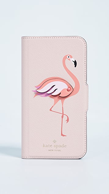 Kate Spade New York Flamingo Applique Folio iPhone X Case