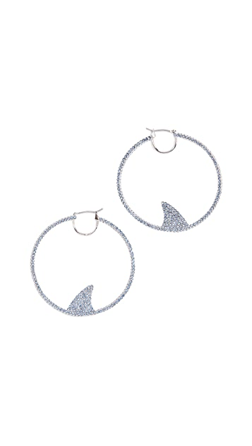 Kate Spade New York California Dreaming Pave Shark Hoops Earrings