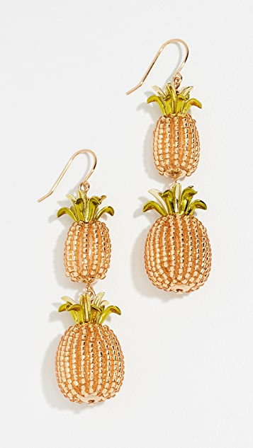 Kate Spade New York By The Pool Pineapple Double Drop Earrings