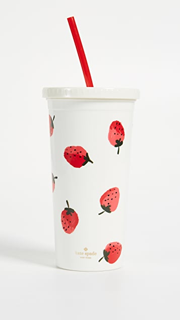 Kate Spade New York Strawberries Tumbler with Straw