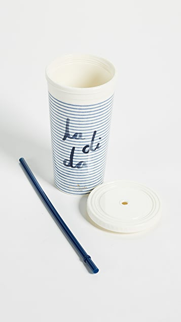 Kate Spade New York Seersucker Tumbler with Straw