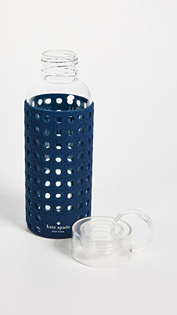 Kate Spade New York Navy Glass Water Bottle