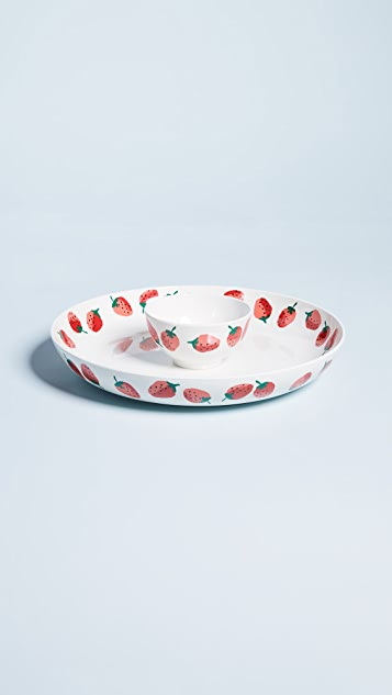 Kate Spade New York Strawberries Chip and Dip Bowl