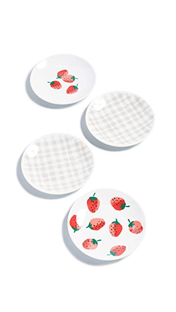 Kate Spade New York Strawberries Melamine Tidbit Plates
