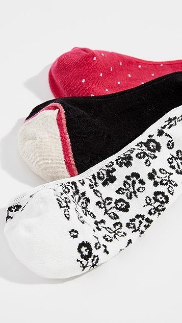 Kate Spade New York Three Pack Plain Ditsy Liner Socks