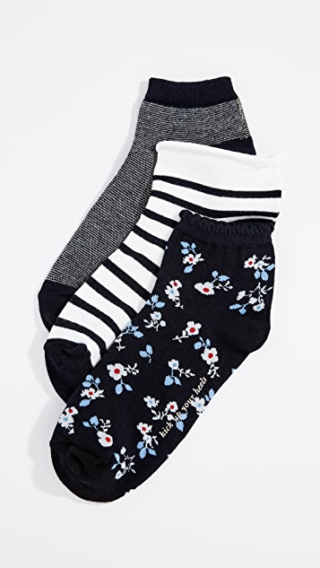 Kate Spade New York Stripe Anklet Sock 3 Pack