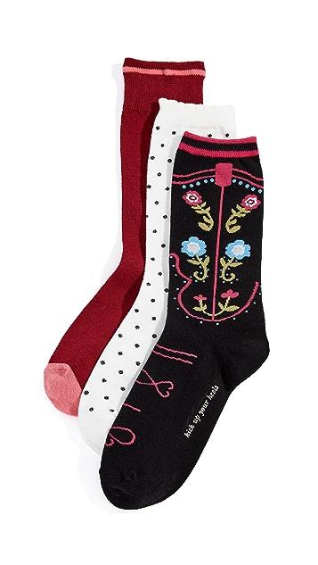 Kate Spade New York Western Boot Trouser Socks 3 Pack