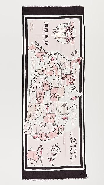 Kate Spade New York USA Map Oblong Scarf