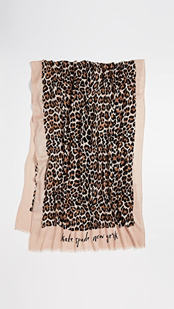 Kate Spade New York Leopard Oblong Scarf