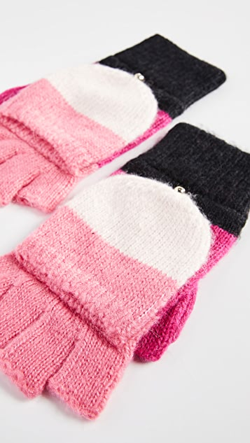 Kate Spade New York Brushed Colorblock Pop Top Mittens