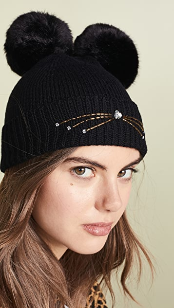Kate Spade New York Embellished Cat Beanie Hat