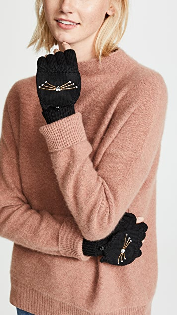 Kate Spade New York Embellished Cat Pop Top Mittens