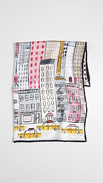 Kate Spade New York Cityscape Silk Square Scarf