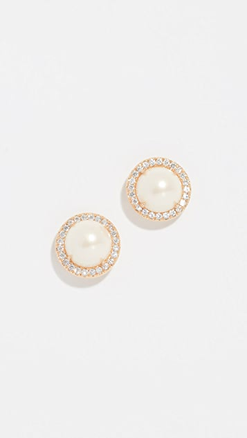 Kate Spade New York Pave Halo Stud Earrings - Cream/Gold
