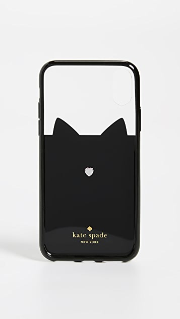 Kate Spade New York Jeweled Glitter Cat iPhone XS / X Case