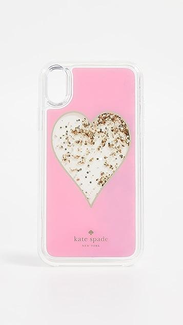 Kate Spade New York Heart Liquid Glitter iPhone XR Case