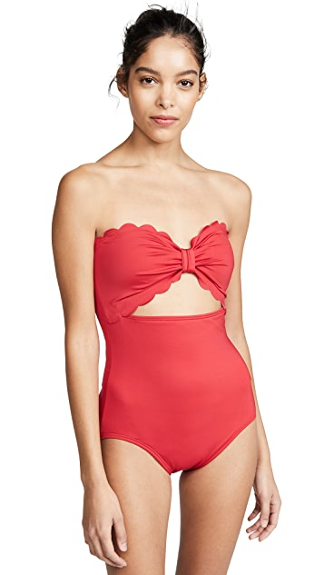 Kate Spade New York Scalloped Cutout One Piece Swimsuit