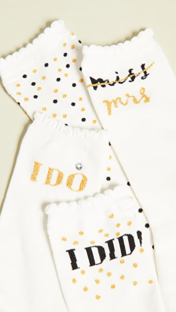 Kate Spade New York 3 Pack I Do Crew Socks