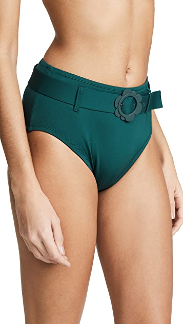 Kate Spade New York 雏菊搭扣高腰比基尼泳裤