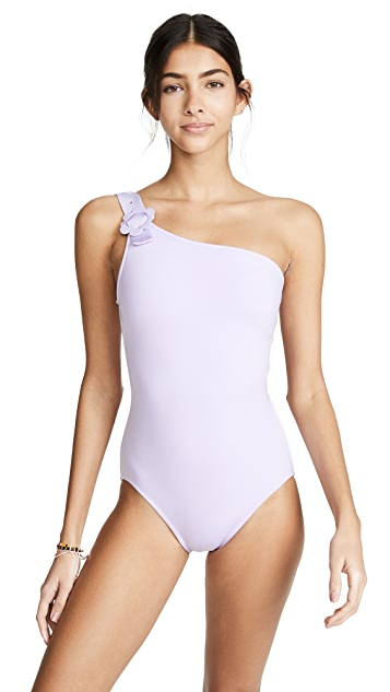 Kate Spade New York Daisy Buckle One Shoulder Swimsuit