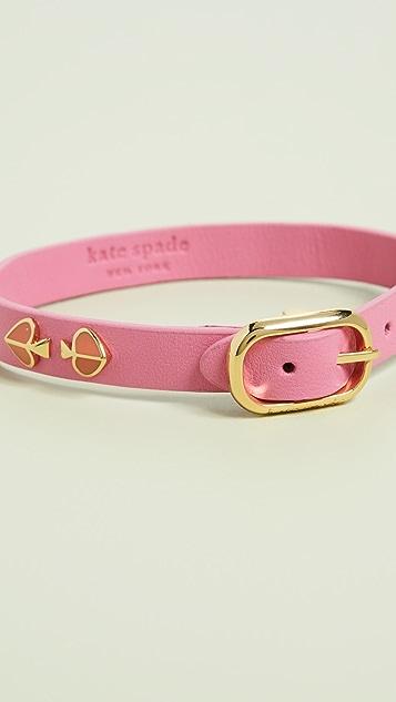 Kate Spade New York Heritage Spade Enamel Stud Leather Bracelet