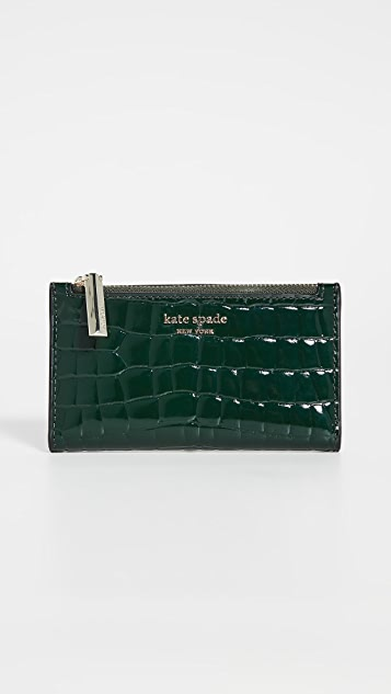 Kate Spade New York Sylvia Croc Embossed Small Slim Bifold Wallet