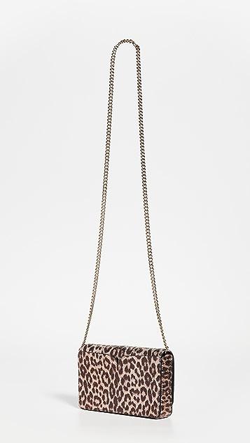 Kate Spade New York Металлизированный кошелек на цепочке Nicola с леопардовым принтом