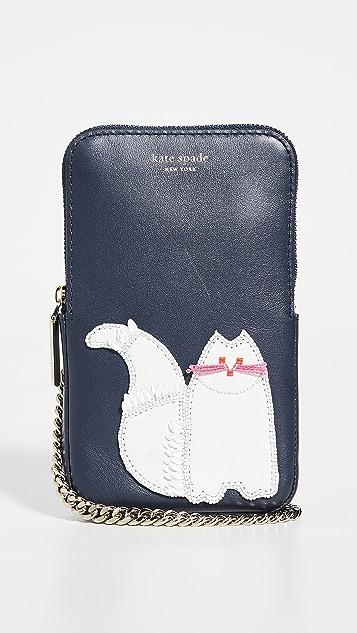 Kate Spade New York 珠饰猫咪手机斜挎包