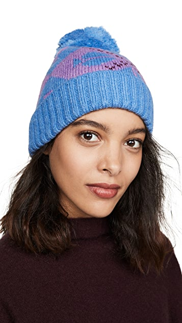 Kate Spade New York Spade 菱形绒球帽子