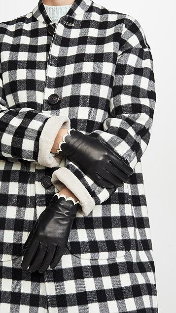 Kate Spade New York 扇形饰边皮手套
