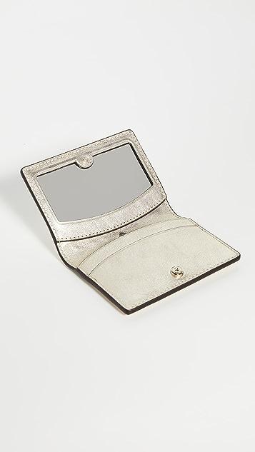 Kate Spade New York Sylvia Croc Embossed Mirror Card Case