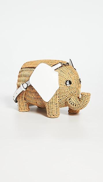 Kate Spade New York Wicker Tiny Elephant Crossbody Bag