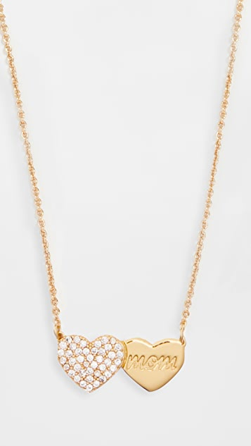 Kate Spade New York Mom Knows Best Pave Heart Pendant Necklace