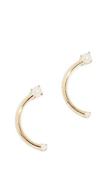 KatKim 18k Freshwater Cultured Pearl Harpe Earrings