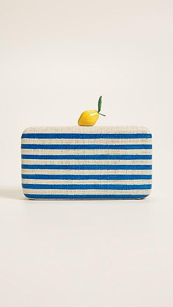 Kayu Vera Lemon Clutch - Blue Stripe